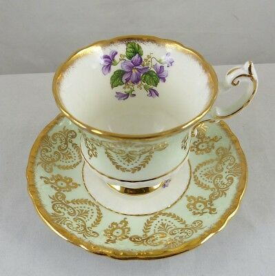 Paragon Fine English Bone China Cup & Saucer Mint Green w/ Gold Design & Violets