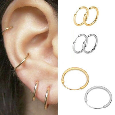 3 pairs Simple Circle Small Hoop Earrings Set Unisex Punk Earrings Jewelry Gift