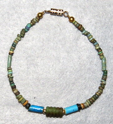 "Ancient Egyptian Faience Beads 10K Solid Gold Bracelet 8"" P MITRY PROVENANCE"