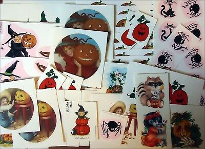 "Lot of 88 Halloween Pumpkin Witch Cat 1"" to 5-1/4"" Waterslide Ceramic Decals Xx"