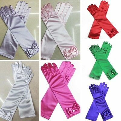 Girls Long Satin Gloves Kids Bow Sleeves Gloves Party Wedding Performance