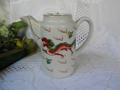SALE Antique Hand Painted Red Dragon  Sun & Clouds Asian Porcelain Teapot