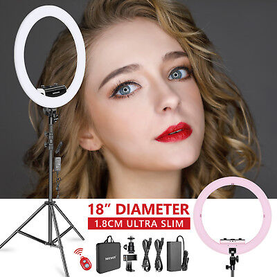 Neewer Ring Light Kit w/ Light Stand,Rotatable Phone Clip,Hot Shoe Adapter(Pink)
