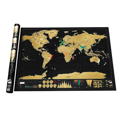Traveler Large Size Scratch Off World Map Travel Holiday Poster Wall Paper Gift
