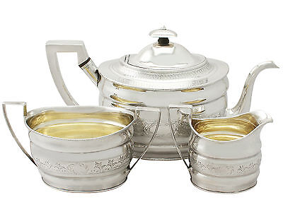 Sterling Silver Three Piece Tea Set Antique George III