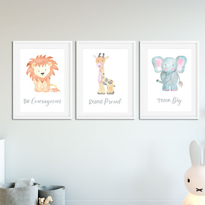 Nursery Decor Wall Art Print Watercolour Animal Baby Toddler Bedroom Decoration