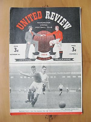 MANCHESTER UNITED v CHARLTON ATHLETIC 1948/1949 VG Condition Football Programme