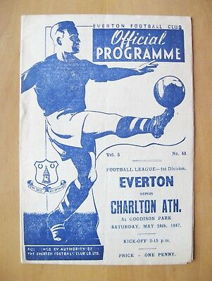 EVERTON v CHARLTON ATHLETIC 1946/1947 *Excellent Condition Football Programme*