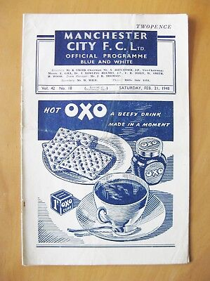 MANCHESTER CITY v BLACKPOOL 1947/1948 *Good Condition Football Programme*