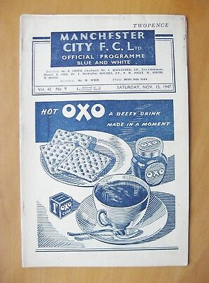MANCHESTER CITY v CHARLTON ATHLETIC 1947/1948 Good Condition Football Programme