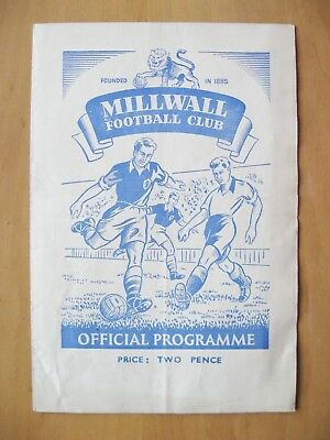 MILLWALL v SOUTHEND UNITED Reserves 1949/1950 Good Condition Football Programme