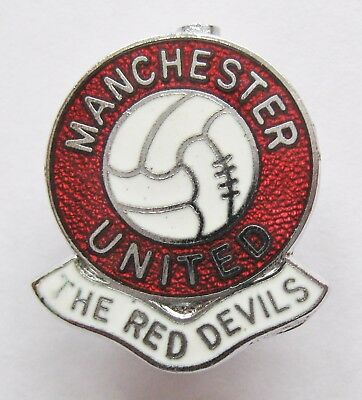 "MANCHESTER UNITED - Vintage Gomm Ball Enamel Football Pin Badge ""The Red Devils"""