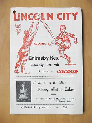 LINCOLN CITY v GRIMSBY TOWN Reserves 1948/1949 *Good Cond Football Programme*