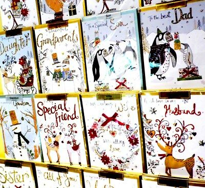 INCREDIBLE CHRISTMAS 'CHAMPAGNE' CARDS x54 JUST 69p, (srp £3.99) 18 designs x 3