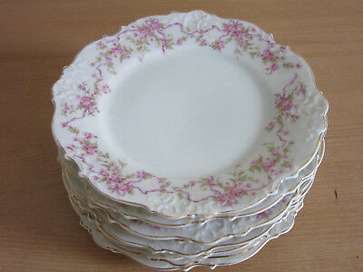 "Set of 8 Silesia Antique Victorian fancy floral porcelain 7.75"" cabinet plates"