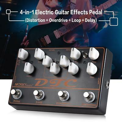 MOSKY 4-IN-1 Electric Guitar Multi Effects Pedal Distortion Overdrive Loop Delay
