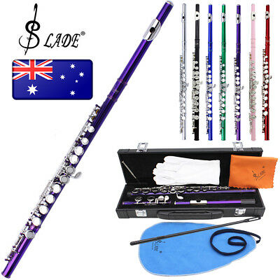 Flute Cupronickel Pink School Band Student 16 Holes C Key Woodwind with Case Kit