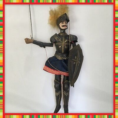 """ANTIQUE LATE 1800s-EARLY 1900's 14"""" MARIONETTE KNIGHT CARVED WOOD & TIN PUPPET"""