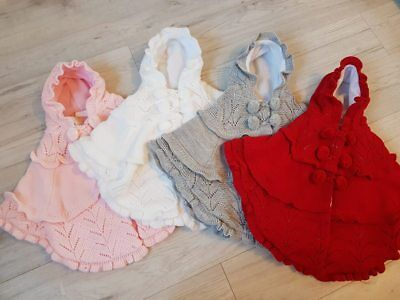 NEW Baby Girl Spanish Style Knitted Poncho Cape Fleece Lined Poms 6-24 MONTH