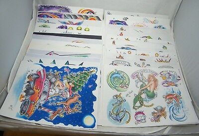 25 ~ Mike Rowe  ~ Tattoo Flash Sheets ~ Signed ~ 1995, 1996, 1997, 1998, 2000