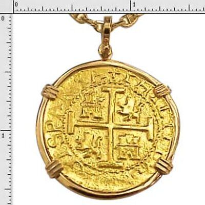 24K Pure Gold 8 Escudo Lima Mint Coin With 14K Gold Bezel 1715 Fleet Recreation