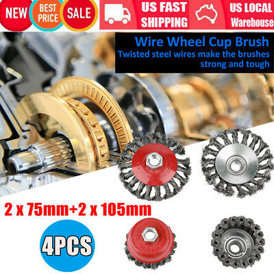4pcs Rotary Knot Flat Cup Wire Wheel Brush for Angle Grinder Rust Removal