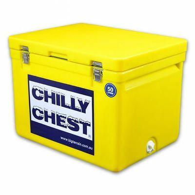 TECHNIICE Chilly Chest Ice Box Yellow 50L + FREE 6 Reusable Dry Ice Packs