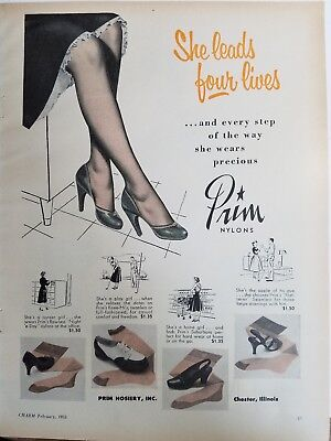 1955 woman's legs PRIM NYLONS vintage Hosiery stockings leads for lives ad