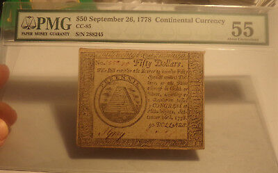 CC-85. Continental Currency. September 26, 1778. $50. PMG AU 55 Scarce..Lot 1633