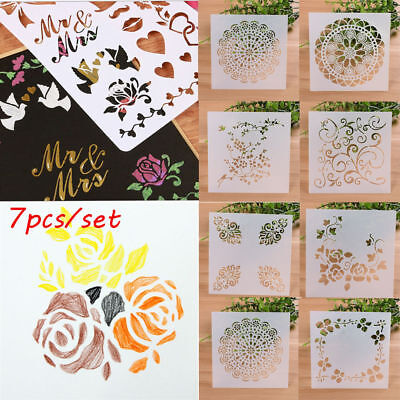 13 7PCS Craft Embossing Template Wall Painting Layering Stencils Scrapbooking L7
