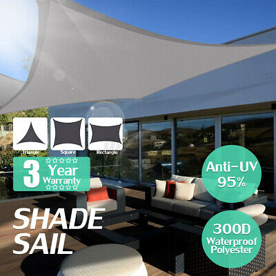 300D Sun Shade Sail Outdoor Garden Waterproof Canopy Patio Cover UV Block Colors
