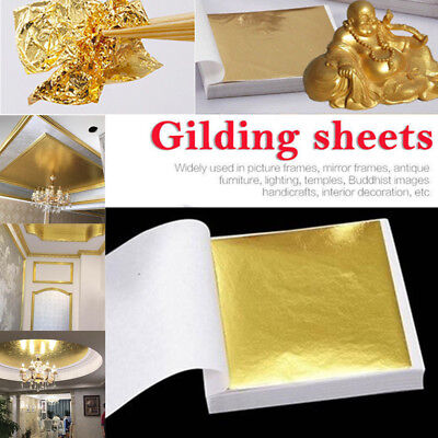 100PCS Gold//Silver Foil Leaf Paper Food Cake Decor Edible DIY Gilding Best W3G8