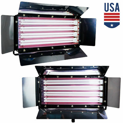 2 x Photo 4-Bank Light Studio Digital Video Lighting Fluorescent Lightbank NEW