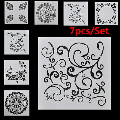 7 PCS/SET Craft Embossing Stencils Wall Painting Layering Template Scrapbooking