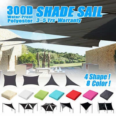 Sun Shade Sail 300D Garden Patio Cover Waterproof Awning Canopy Screen  UV Block