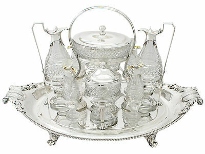 Antique Georgian Sterling Silver and Cut Glass Cruet Service by Paul Storr