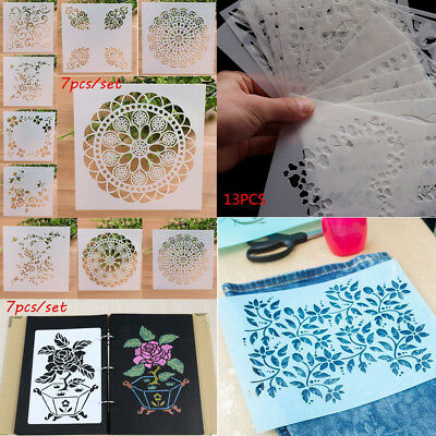 DIY Cake Craft Embossing Template Wall Painting Layering Stencils Scrapbooking