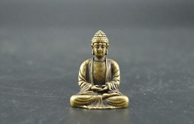 Chinese Old Pure Brass Sakyamuni Buddha Small Statue