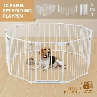 3 in 1 Pet Dog Baby Playpen 10 Panel Kids Safety Gates Interactive Child Barrier