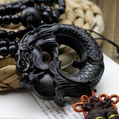 1PC Vintage Ebony Wood Carving Dragon Sculpture Prayer Beads Car Pendant Jewelry