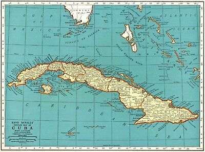 1939 Vintage Map of CUBA & The BAHAMAS Map Blue Gallery Wall Art 5661