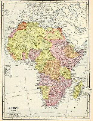1911 Antique AFRICA Map Beautiful Original Vintage Map of Africa #5665