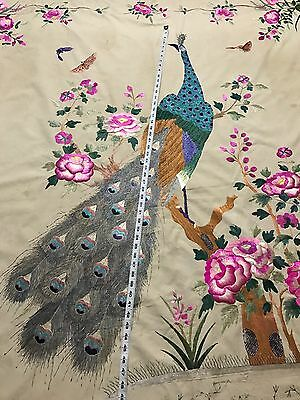 """Antique Chinese Garden Scene Wall Hanging Hand Embroidery 70"""" X 81"""""""