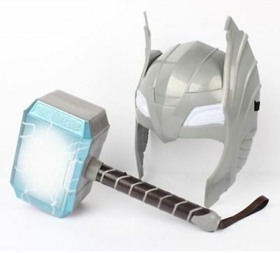 LED Glowing / Sounds Thor Hammer Helmet Mask Child Cosplay Toys Action Figure UK