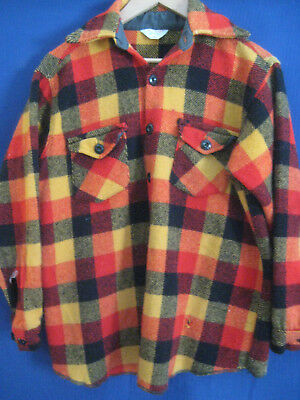 FROSTPROOF vtg 60s 70s wool JACKET shirt Jac sz M Youth kids plaid FLAWS costume