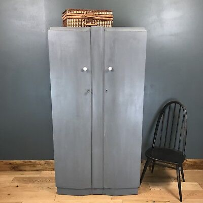 Vintage Shrager Gents Wardrobe Cupboard  Shabby Chic Distressed Painted