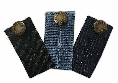 3-pack Jeans Waist Extender All Your Pants and Jeans, Dark Blue, Black and Blue