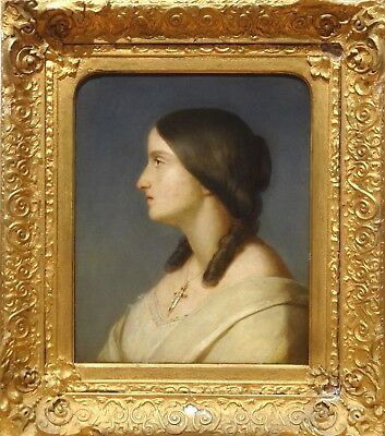 Large 19th Century Classical French Lady Side Portrait Antique Oil Painting