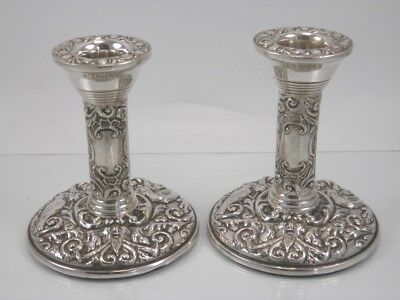 Vintage pair of .925 sterling silver candlesticks Broadway & Co Birmingham 1975