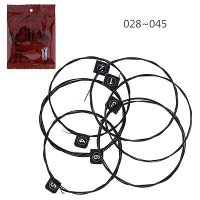 1 Set 6pcs 028-045 Inch Nylon Black Plated Wire Strings for Acoustic Guitar